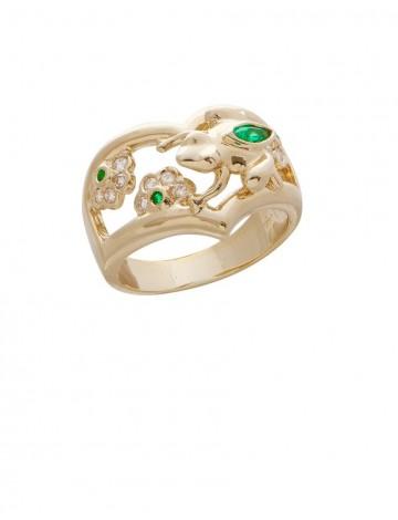 0.15ct Emerald 18K Gold Diamond Ring
