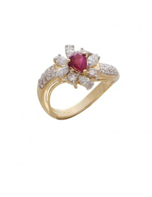 0.59ct Ruby 18K yellow gold and diamond ring