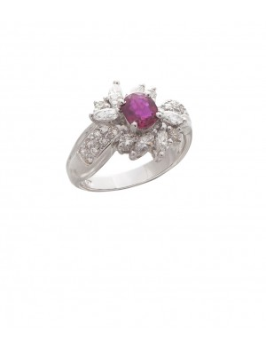 0.86ct Ruby 18K Yellow Gold Diamond Ring