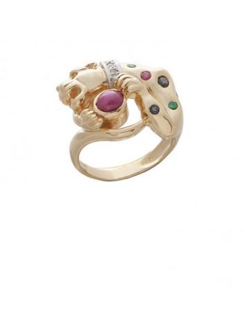 0.47ct Ruby 18K Gold Emerald Diamond Ring