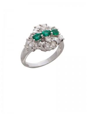 0.58ct Emerald 18K Gold Diamond Ring
