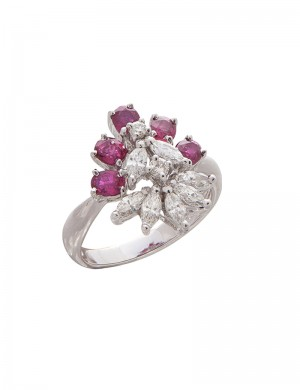 1.24ct Ruby 18K Yellow Gold Diamond Ring