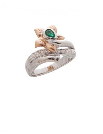 0.28ct Emerald 18K Gold Diamond Ring