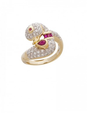 0.45ct Ruby 18K Gold Diamond Ring