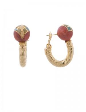 18.40 gram 18K Italian Gold Enamel Earrings