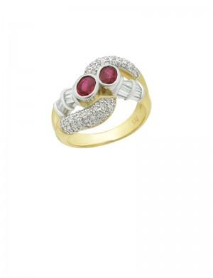 0.66ct Ruby 18K Gold Diamond Ring