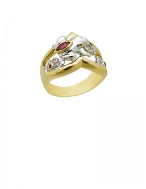 0.21ct Ruby 18K Gold Diamond Ring