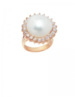13.5mm Baroque Pearl in 18K Gold Ring