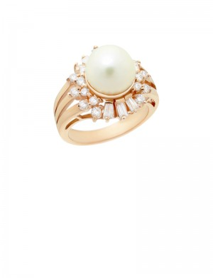 9.5mm Culture Pearl 18K Gold Ring