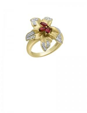 0.50ct Ruby 18K Gold Diamond Ring
