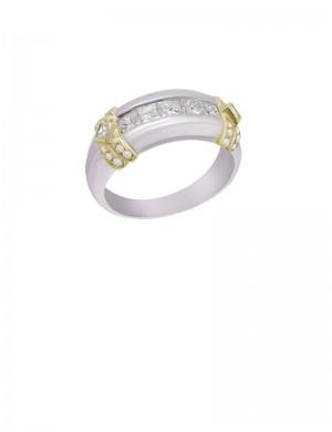 0.98ct Diamond Platinum 18K Gold Ring