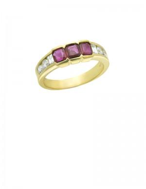 1.35ct Ruby 18K Gold Diamond Ring