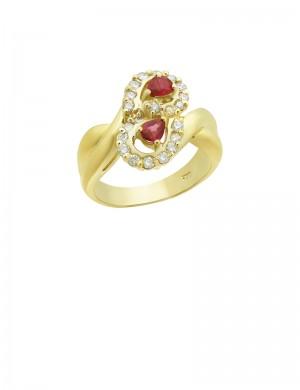 0.38ct Ruby 18K Gold Diamond Ring