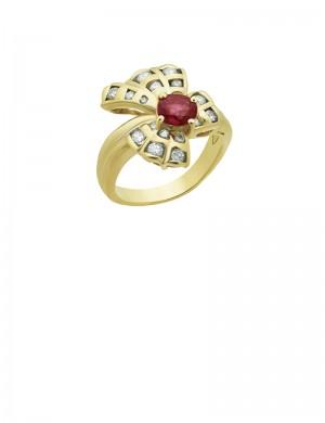 0.84ct Ruby 18K Gold Diamond Ring