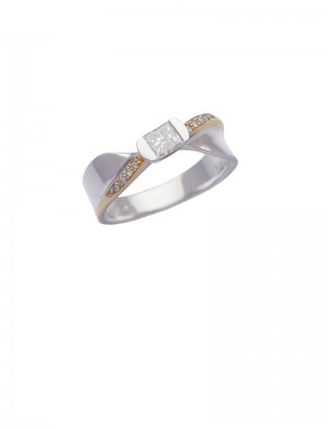 0.29ct Diamond 18K White & Yellow Gold Ring