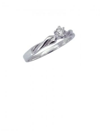 0.12ct Diamond 18K White Gold Ring