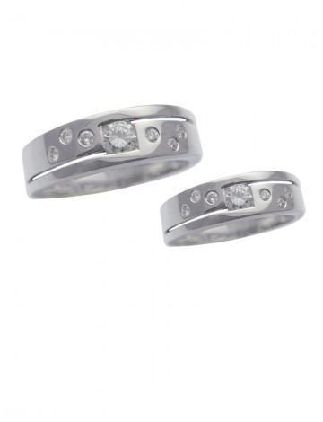 0.46ct Diamond 18K White Gold Wedding Ring Bands