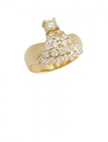 1.38ct Diamond 18K Yellow Gold Ring