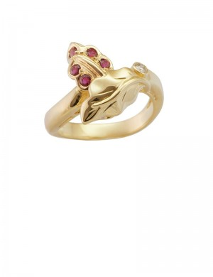 0.27ct Ruby 18K Gold Diamond Ring
