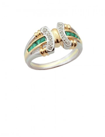 Emerald Diamond Platinum & Yellow Gold Ring