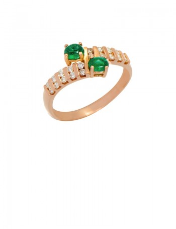 Emerald Diamond 18K Yellow Gold Ring