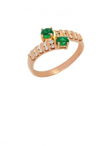 Emerald Diamond 18K Gold Ring line Jewellery Gemstone