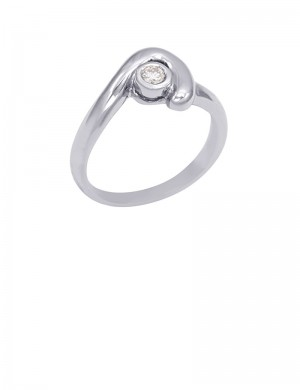 0.08ct Diamond 18K Gold Solitaire Ring