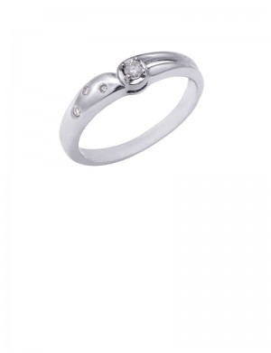 0.09ct Diamond 18K Gold Solitaire Ring