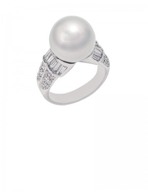 12.5mm South Sea Pearl 18K Gold Diamond Ring