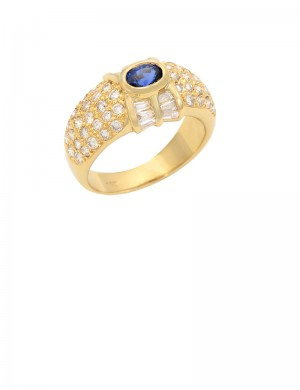 0.30ct Blue Sapphire 18K Gold Diamond Ring