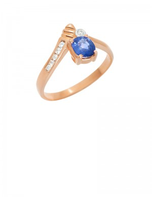 0.61ct Blue Sapphire 18K Gold Ring