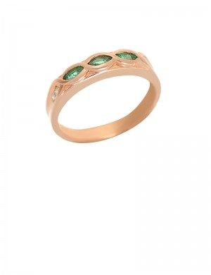 Emerald Diamond 18K Gold Ring