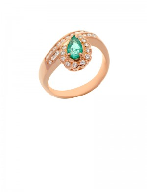 0.51ct Pear Shape Emerald and Diamond 18K Gold Ring