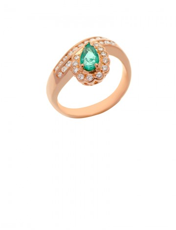 0.51ct Pear Shape Emerald and Diamond 18K Yellow Ring