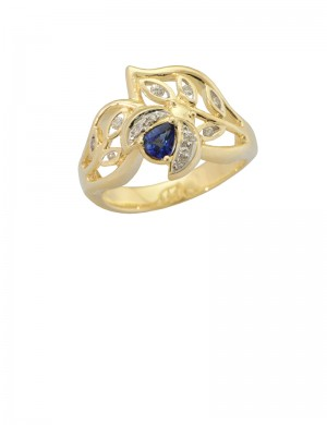0.27ct Blue Sapphire Diamond 18K Gold