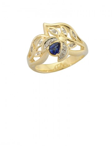 0.27ct Blue Sapphire Diamond 18K yellow Gold