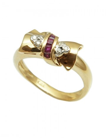Ruby Diamond 18K Yellow Gold Ring