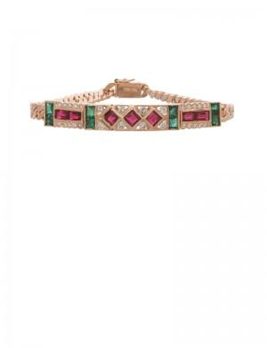 2.00ct Ruby & Emerald 18K Gold Diamond Bracelet