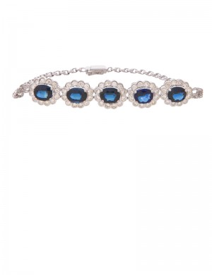 4.44ct Blue Sapphire 18K Gold Diamond Bracelet