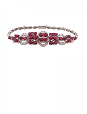 9.90ct Ruby 18K Gold Diamond Bracelet