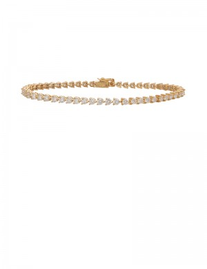 3.21ct Diamond 18K Yellow Gold Tennis Bracelet